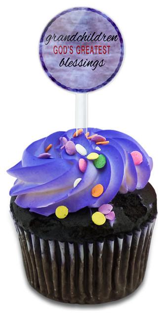 Grandchildren God&x27;s Greatest Blessings Cupcake Toppers Picks Set.
