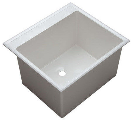 Proflo Pflt2522d 24 1 2 Single Basin Drop In Composite Laundry Sink White Whi
