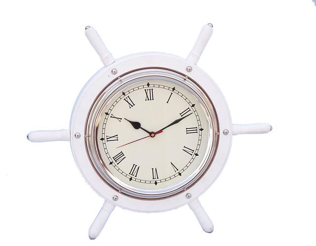 White Wood And Chrome Ship Wheel Clock 15 Boat Steering Nautical