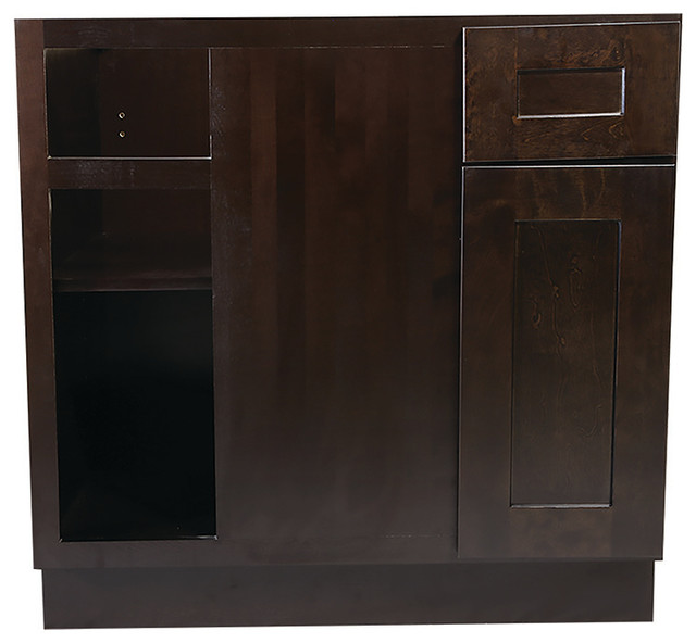 Brookings 36 Fully Assembled Kitchen Blind Base Cabinet, Espresso Shaker.