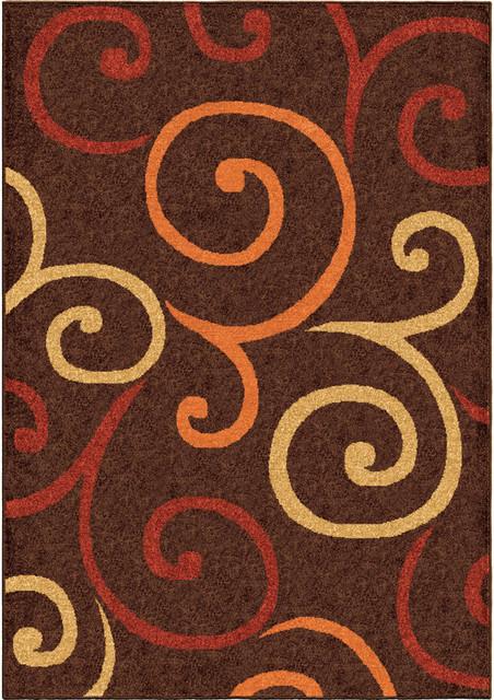 "Bright Dotted Swirls Indoor/outdoor Area Rug, Brown, 6&x27;5""x9&x27;8""."