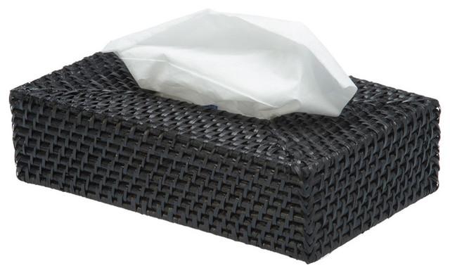Rectangular Rattan Tissue Box Cover In Black