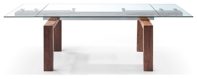 Whiteline Davy Extendable Dining Table Tempered Glass Top Contemporary Dining Tables By Whiteline