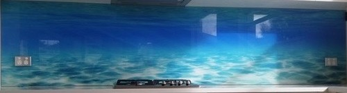 Chosen Underwater Theme Photo Glass Splash Back Similar To This Cool Colouring Is The Feature Grey And Silver In Bench Top Look Gorgeous