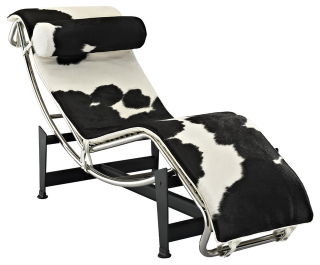 Le Corbusier Style LC4 Chaise, Black/White Cowhide Indoor Chaise Lounge
