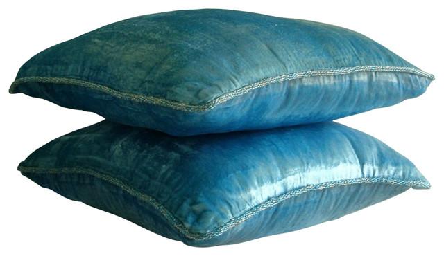 7c9fcabce6343 Velvet Aqua Blue Accent Pillows