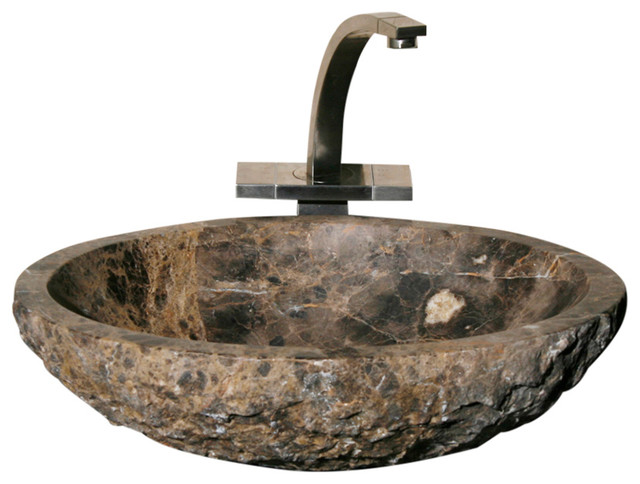 Oval Bathroom Sink With Rock Pitch Outside, Emperador Dark Marble, Polished.
