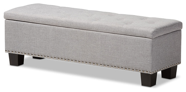 Hannah Upholstered, Button-Tufting Storage Ottoman Bench, Light Gray  contemporary-footstools- - Hannah Upholstered, Button-Tufting Storage Ottoman Bench