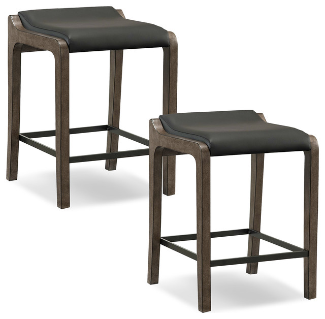 Graystone Wood Fastback Counter Height Stool W Black Faux