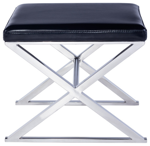 Pasargad Luxe Collection Faux Leather Bench, Black.
