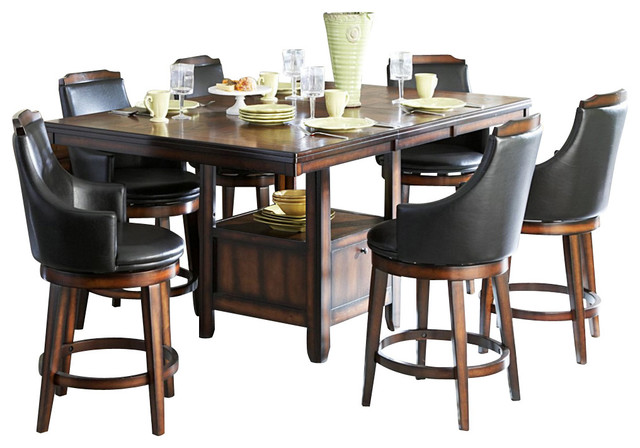 Homelegance Bayshore 7 Piece Counter Height Table Set With Storage Base Traditional Dining