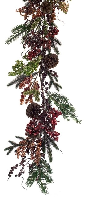 Mixed Metallic Berry And Pine Cone Garland.