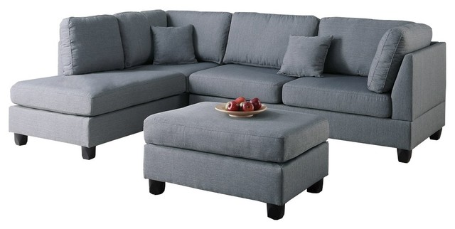 Fabric Reversible 3-Piece Sectional Chaise Sofa Set, Ottoman Pillows, Gray. -1