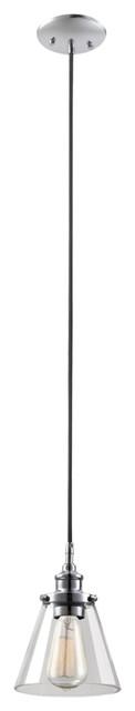 Mercer 1-Light Chrome & Black Vintage Industrial Hanging Pendant.