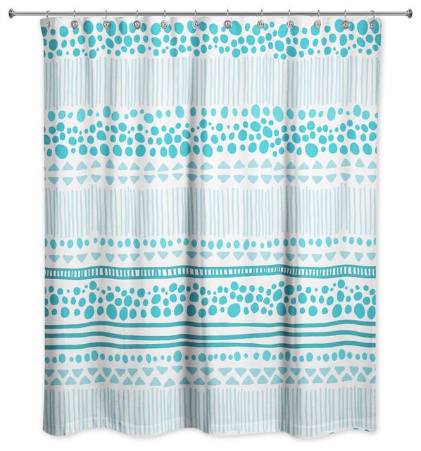 Blue Tribal Print Shower Curtain