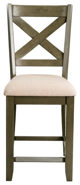 Omaha X-Back Barstools With Upholstered Seat, Set Of 2, Gray.