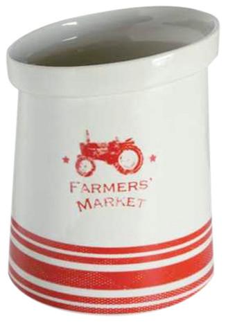 Stoneware Farmer&x27;s Market Crock With Tractor.