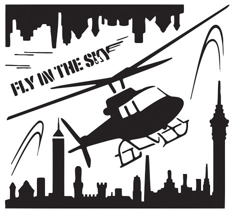 helicopter flying over metropolis reusable wall sticker