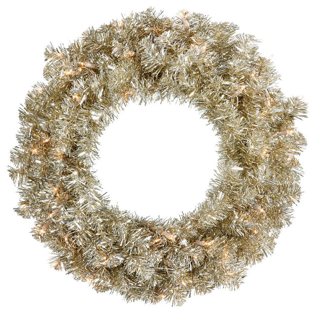 Pre-Lit Champagne Sparkling Tinsel Artificial Christmas Wreath, Clear Lights, 24.