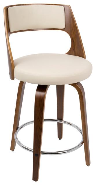 Cecina Counter Stool Walnut and Cream Midcentury Bar  : midcentury bar stools and counter stools from www.houzz.com size 332 x 640 jpeg 36kB