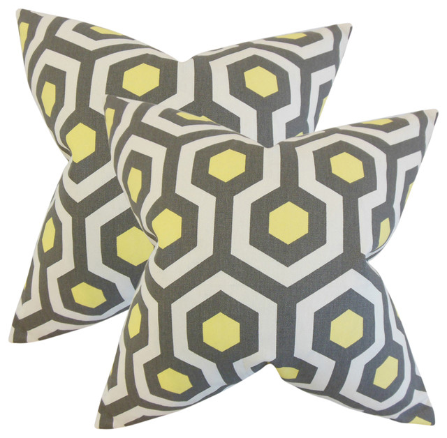 Maliah Geometric Throw Pillows, Gray, Set of 2, Gray