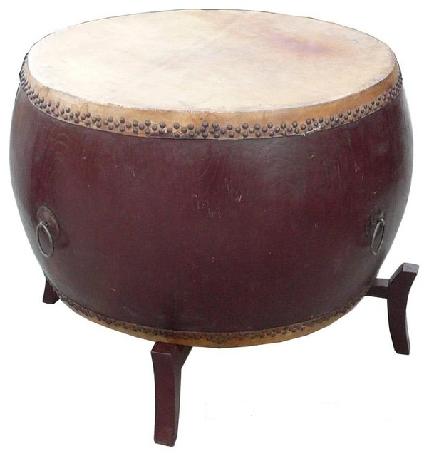 Chinese Drum Coffee Table: Chinese Brown Lacquer Drum Shape Table