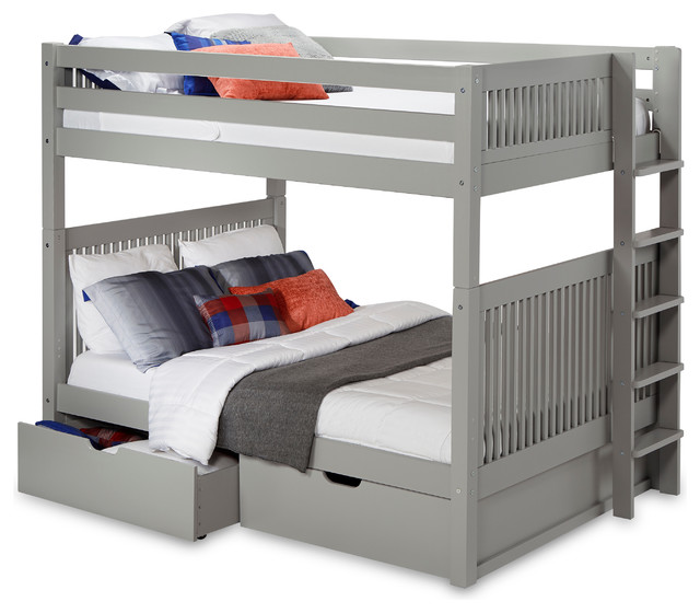 pretty nice bfedb 14efd Full over Full Bunk Bed with Drawers, Mission Headboard, Bed End Ladder
