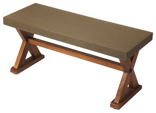 Portland Concrete & Wood Bench - Multi-Color