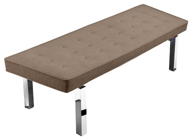 Elise Tufted Bench Brown Modern Upholstered Benches