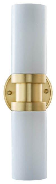 Buckley Sconce, Brushed Brass With Glossy Frosted Glass