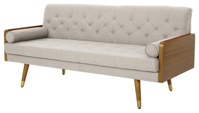 GDF Studio Aidan Mid Century Modern Tufted Fabric Sofa, Gray + Black + Silver