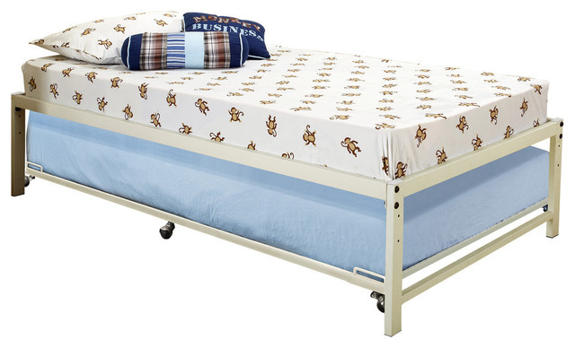 Archer Metal Daybed With Roll-Out Trundle, White, Twin.