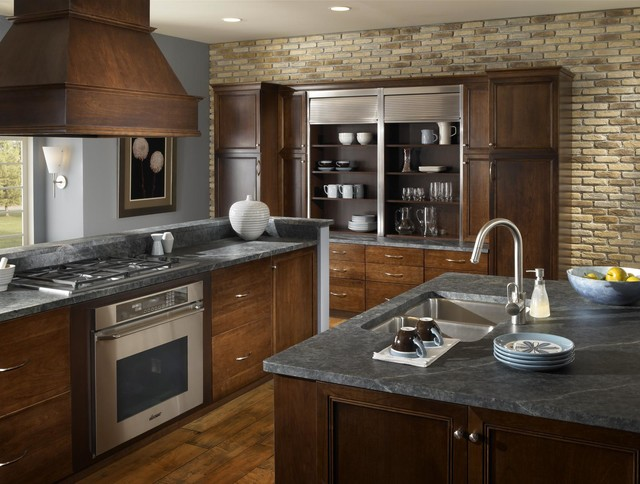 Brick Kitchen Accent Wall Traditional Kitchen By