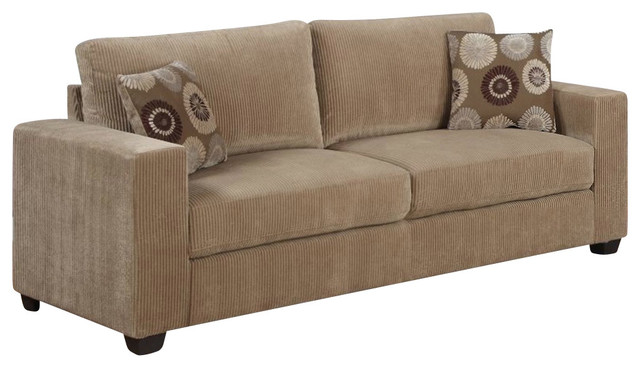 Homelegance Paramus Sofa With 2 Pillows In Neutral Tone Corduroy