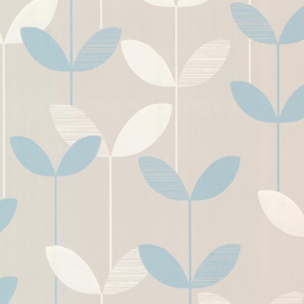 Ernst Light Blue Linear Leaf Wallpaper Contemporary Wallpaper