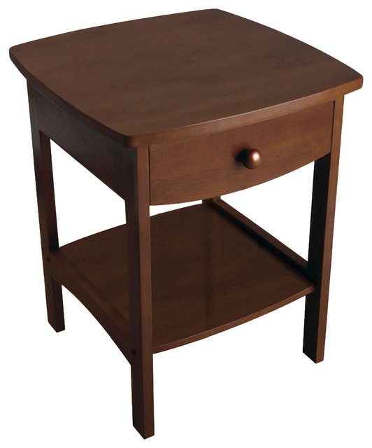 Curved End Night Stand Table, 1 Drawer, Antique Walnut.