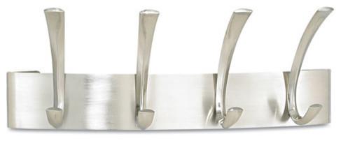 "Metal Coat Rack, Steel, Wall Rack, 4-Hooks, Silver, 14-1/4""x4-1/2""x5-1/4"""