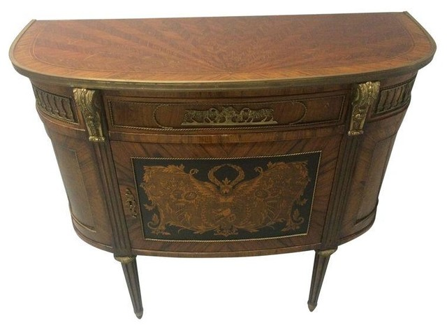 Inlaid Wood Antique Art Deco Hall Table - Inlaid Wood Antique Art Deco Hall Table - Nightstands And Bedside