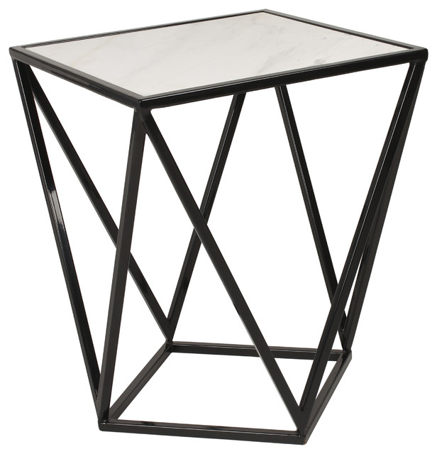 Maia Metal Side Accent Table With Marble Top, Black