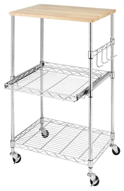 Sturdy Metal Kitchen Microwave Cart With Adjustable Shelves, Locking Wheels.