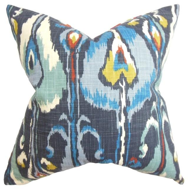 "Gudrun Ikat Blue Pillow, 18""x18""."
