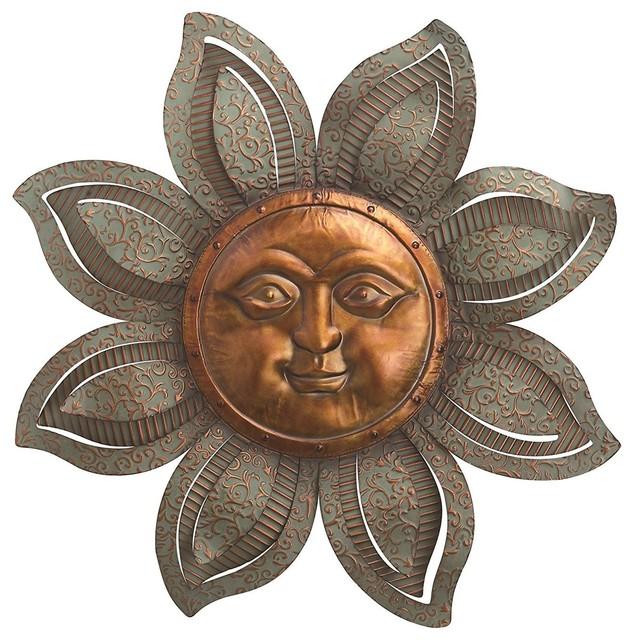 """Textured Metal Garden Sun Face Wall Decor 30""""."""