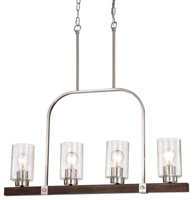 new product bf744 66d99 4-Light Brushed Nickel and Wood Linear Chandelier With Seedy Glass Sconce