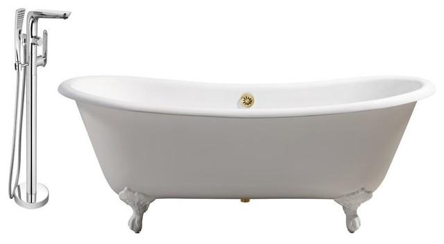 "Streamline 71"" Faucet And Cast Iron Tub Set, Gold Popup Drain, Showerhead H-120."