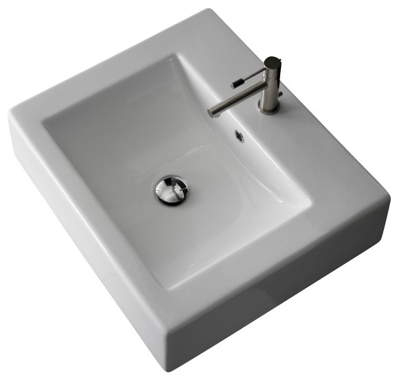 Square White Ceramic Wall Mounted Or Vessel Sink, One Hole.