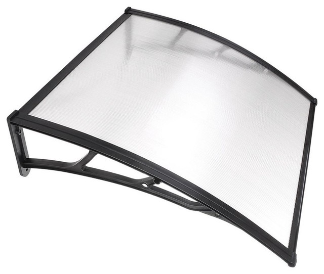 Polycarbonate Hollow Sheet Window Awing, Clear With Black Trim, 1 -Piece