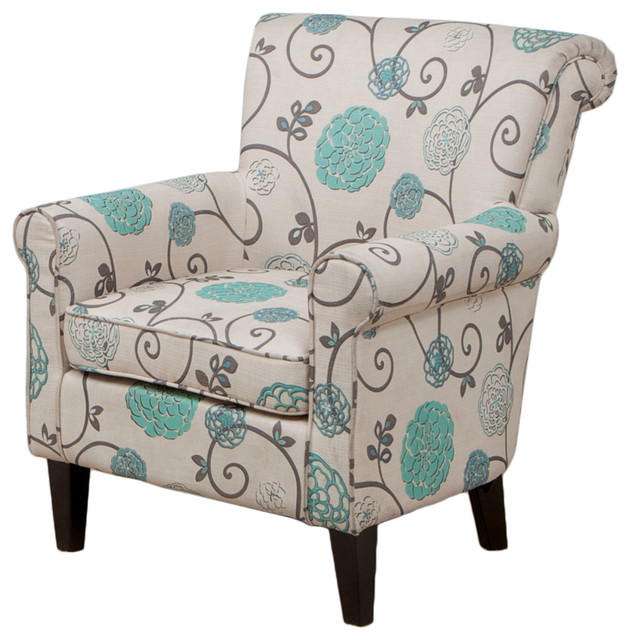 Roseville Floral Club Chair - Mediterranean - Armchairs And Accent ...