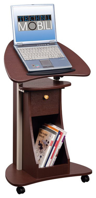 Techni Mobili Deluxe Rolling Laptop Cart With Storage Transitional Office  Carts And