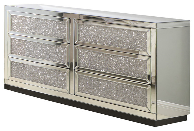 6 Drawer Silver Crystal Mirrored Dresser