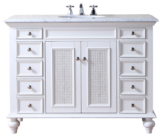 Stufurhome 48 Rory White Single Sink Vanity With Carrara Marble Top Tropical Bathroom Vanities And Sink Consoles By Hedgeapple Houzz